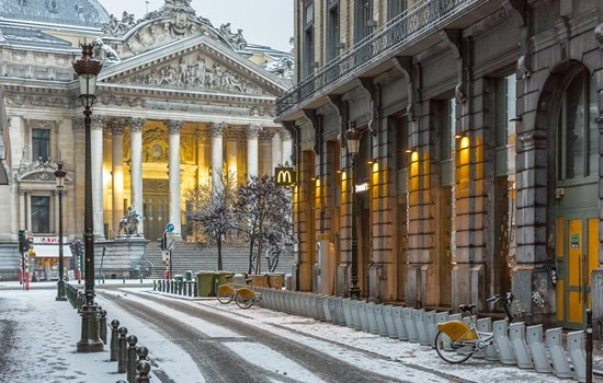 Brussels stock exchange on a snowy winter day