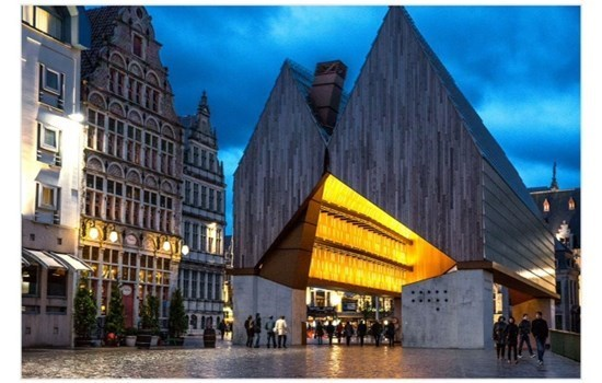 The recently constructed city pavilion in Ghent, Belgium