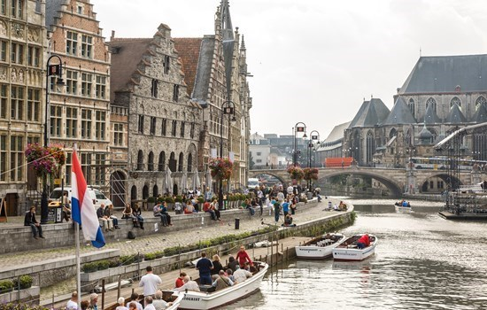 Boats on the Leie; Graslei in Ghent, Belgium